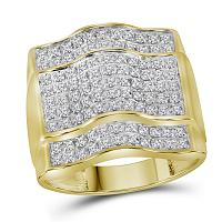 10kt Yellow Gold Mens Round Diamond Arched Square Cluster Ring 1.00 Cttw