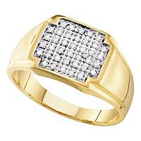 10kt Yellow Gold Mens Round Pave-set Diamond Square Cluster Ring 1/4 Cttw