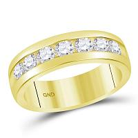 14kt Yellow Gold Mens Round Channel-set Diamond Wedding Band Ring 1-1/2 Cttw