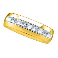 14kt Yellow Gold Mens Princess Channel-set Diamond Wedding Anniversary Band Ring 1.00 Cttw