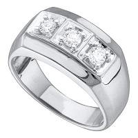 14kt White Gold Mens Round Diamond 3-stone Fashion Band Ring 1/2 Cttw