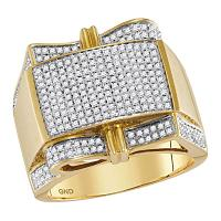 10kt Yellow Gold Mens Round Prong-set Diamond Rectangle Cluster Ring 1.00 Cttw