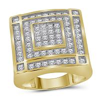 10kt Yellow Gold Mens Round Diamond Concentric Square Cluster Ring 1-3/4 Cttw