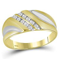 Yellow-tone Sterling Silver Mens Round Diamond Wedding Band Ring 1/8 Cttw