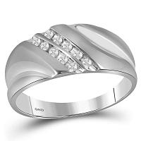 Sterling Silver Mens Round Channel-set Diamond Wedding Band Ring 1/8 Cttw