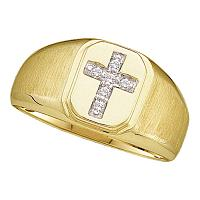 14kt Yellow Gold Mens Round Diamond Brushed Christian Cross Band Ring 1/20 Cttw