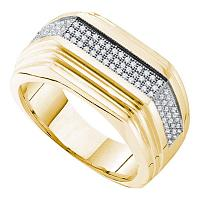 10kt Yellow Gold Mens Round Pave-set Diamond Ridged Flat Band Ring 1/3 Cttw