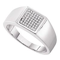 10kt White Gold Mens Round Diamond Square Cluster Ring 1/6 Cttw