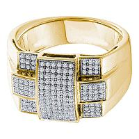 10kt Yellow Gold Mens Round Diamond Square Cross Cluster Ring 1/2 Cttw