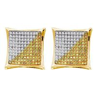 10kt Yellow Gold Mens Round Yellow Color Enhanced Diamond Square Cluster Earrings 1/4 Cttw