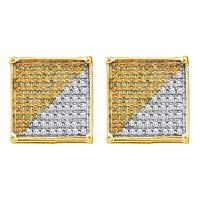 10kt Yellow Gold Mens Round Yellow Color Enhanced Diamond Square Stud Earrings 1/4 Cttw