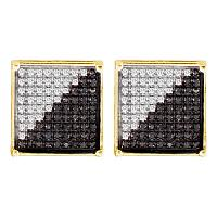 10kt Yellow Gold Mens Round Black Color Enhanced Diamond Square Cluster Earrings 1/6 Cttw