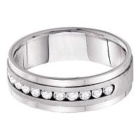 14kt White Gold Mens Round Diamond Single Row Wedding Band Ring 1/4 Cttw