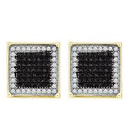 10kt Yellow Gold Mens Round Black Color Enhanced Diamond Square Frame Cluster Earrings 1/4 Cttw