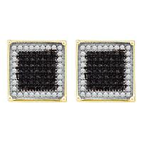 10kt Yellow Gold Mens Round Black Color Enhanced Diamond Square Frame Cluster Earrings 7/8 Cttw