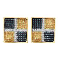 10kt Yellow Gold Mens Round Blue Yellow Color Enhanced Diamond Square Cluster Earrings 1/3 Cttw