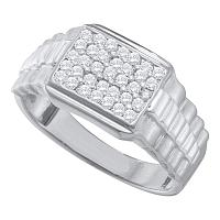 10kt White Gold Mens Round Diamond Rectangle Cluster Ribbed Ring 1/2 Cttw