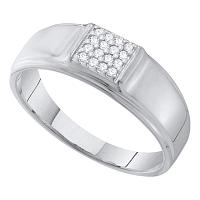 10kt Yellow Gold Mens Round Diamond Square Cluster Wedding Band Ring 1/10 Cttw