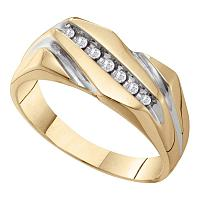10kt Two-tone Gold Mens Round Diamond Single Row Wedding Band Ring 1/8 Cttw