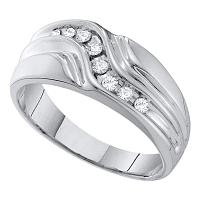 10kt White Gold Mens Round Diamond Curved Single Row Wedding Band Ring 1/4 Cttw