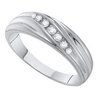 10kt White Gold Mens Round Diamond Wedding Band Ring 1/6 Cttw