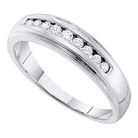 10kt White Gold Mens Round Channel-set Diamond 5mm Wedding Band Ring 1/4 Cttw