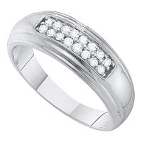 10k White Gold Round Diamond 2-row Mens Wedding Band Ring 1/4 Cttw