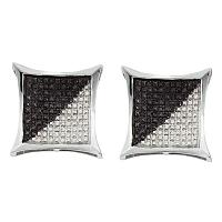 Sterling Silver Mens Round Black Color Enhanced Diamond Square Kite Cluster Earrings 1/3 Cttw