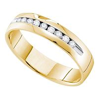 14kt Yellow Gold Mens Round Diamond Single-row Channel-set Wedding Band Ring 1/2 Cttw