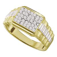 10kt Yellow Gold Mens Round Diamond Rectangle Cluster Ribbed Two-tone Ring 1/2 Cttw