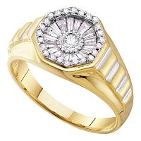 14kt Yellow Gold Mens Round Diamond Two-tone Concave Cluster Ribbed Ring 1/2 Cttw
