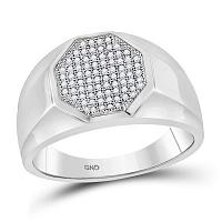 10kt White Gold Womens Round Diamond Octagon Cluster Ring 1/4 Cttw