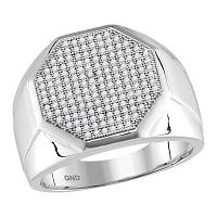 10kt White Gold Mens Round Pave-set Diamond Octagon Cluster Ring 1/2 Cttw