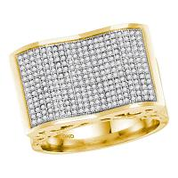 10kt Yellow Gold Mens Round Pave-set Diamond Rectangle Concave Cluster Ring 3/4 Cttw