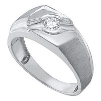 10kt White Gold Mens Round Diamond Solitaire Satin-finish Ring 1/4 Cttw