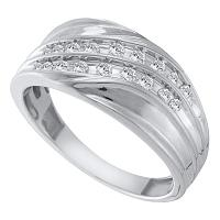 10kt White Gold Mens Round Channel-set Diamond Diagonal Double Row Wedding Band 1/3 Cttw