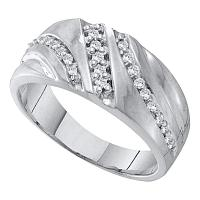 10kt White Gold Mens Round Prong-set Diamond Triple Row Wedding Band 1/4 Cttw