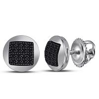 Sterling Silver Mens Round Color Enhanced Black Diamond Circle Cluster Stud Earrings 1/6 Cttw