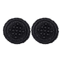 10kt Yellow Black-tone Gold Mens Round Black Color Enhanced Diamond 3D Circle Cluster Earrings 1/4 Cttw
