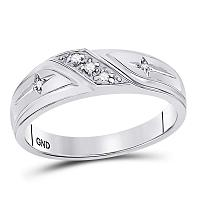 10k White Gold Round Diamond Mens Christian Cross Wedding Anniversary Band Ring 1/20 Cttw