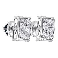 Sterling Silver Womens Round Diamond Square Cluster Stud Earrings 1/3 Cttw