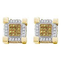 Sterling Silver Mens Round Yellow Color Enhanced Diamond 3D Cube Stud Earrings 1/2 Cttw