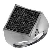 10kt White Gold Mens Round Black Color Enhanced Diamond Square Cluster Ring 1/2 Cttw