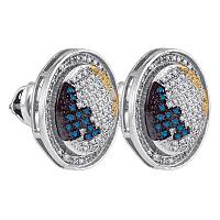 Sterling Silver Mens Round Blue Yellow Color Enhanced Diamond Circle Stud Earrings 5/8 Cttw