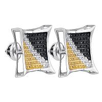 Sterling Silver Mens Round Black Yellow Color Enhanced Diamond Square Cluster Earrings 1/4 Cttw