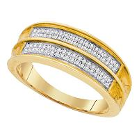 Mens .925 Sterling Silver Yellow Pave Diamond Engagement Wedding Ring Band 1/5CT