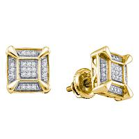 Yellow-tone Sterling Silver Mens Round Diamond Square Cluster Stud Earrings 1/8 Cttw