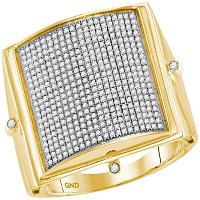 10kt Yellow Gold Mens Round Pave-set Diamond Square Dome Cluster Ring 7/8 Cttw