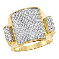 10kt Yellow Gold Mens Round Pave-set Diamond Rectangle Dome Cluster Ring 3/4 Cttw
