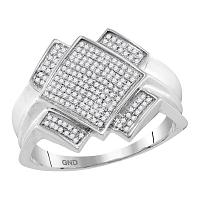 10kt White Gold Mens Round Pave-set Diamond Diagonal Square Cluster Ring 1/3 Cttw